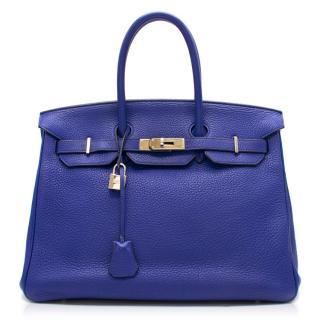 7d1bdc382ee3 Hermes Blue Sapphire Togo leather 35cm Birkin