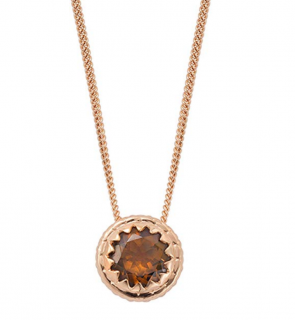 Oak Fine Jewellery Rose Gold Acorn Cap with Smokey Quartz