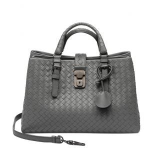 Bottega Veneta Grey 'Roma' Small Intrecciato Leather Tote