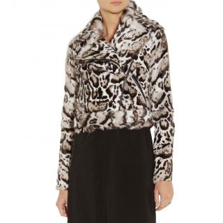 Christopher Kane Animal-print goat hair and leather biker jacket