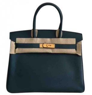 Hermes Blue Colvert Epsom Leather 30cm Birkin