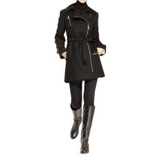 Michael Michel Kors military inspired black coat with belt
