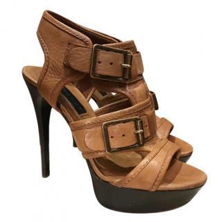 Burberry Tan Strappy Platform Sandals