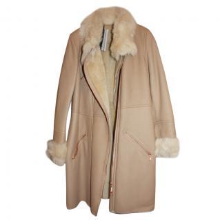 Escada leather shearling coat