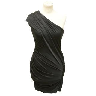 Alexander Wang Black ruched one shoulder dress