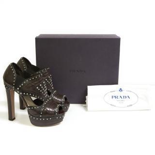 Prada cut out leather bordeaux platforms