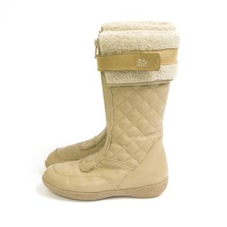 step2wo kids Beige quilted winter boots