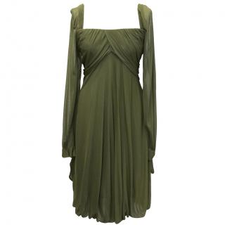 Alberta Ferretti Olive green sheer long dress