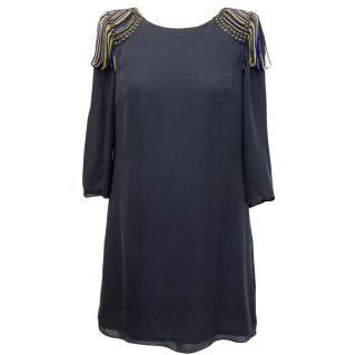 Tibi blue MJ dress with shoulder pads new