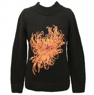 New Charlotte sparre applique black knit jumper