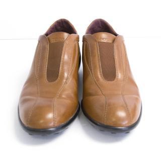 Tod's vintage tan slip on trainers