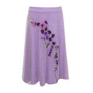Helen David lilac embroidered skirt