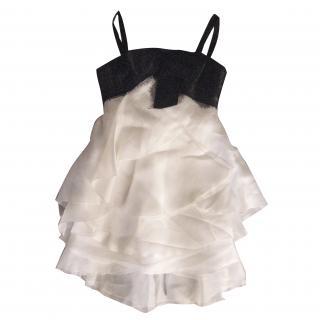 MARCHESA Silk Ruffle Mini Gown