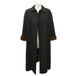 Mink lined black coat