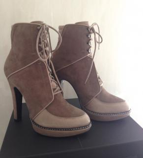 BARBARA BUI BEIGE SUEDE AND LEATHER ANKLE BOOTS