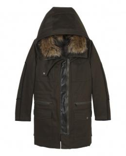 Kooples Parka with Leather and Fur Detail