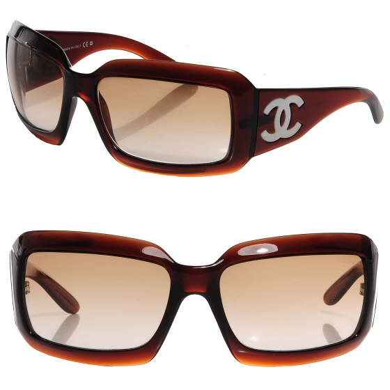 Chanel brown mother of pearl cc sunglasses