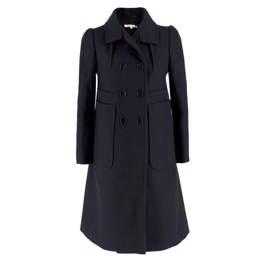Carven black wool-blend felt coat