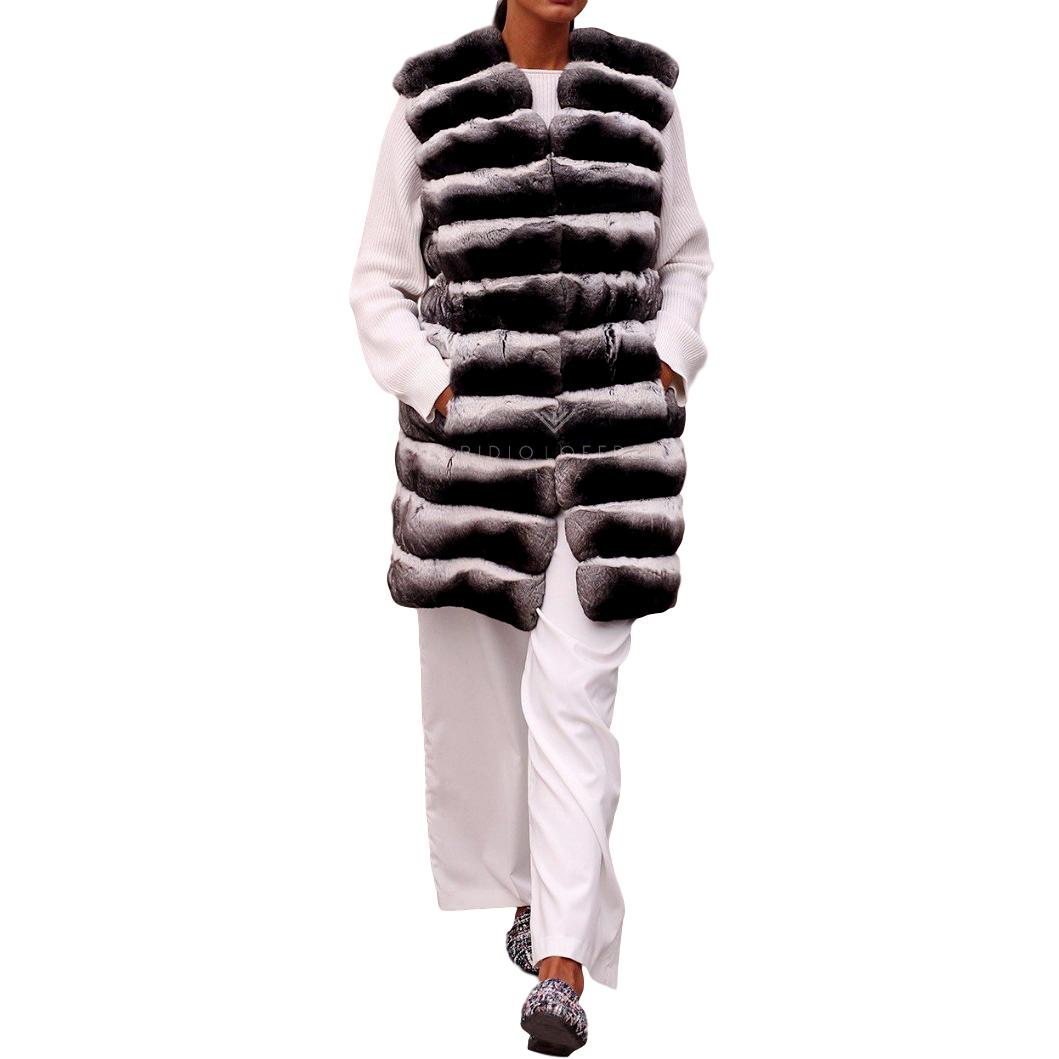 Kopenhagen Fur Purple Label Chinchilla Fur Long Vest