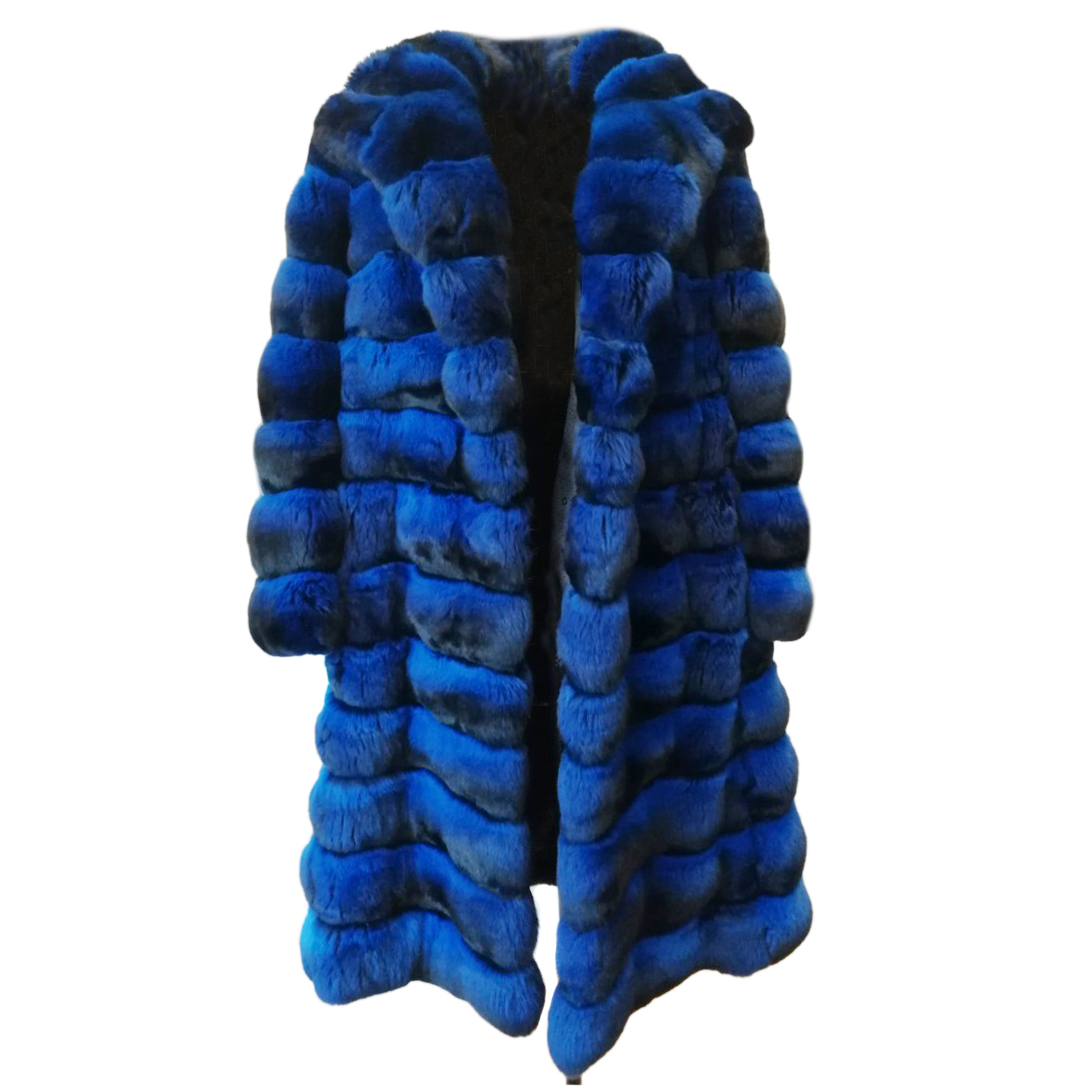 Kopenhagen Fur Royal Blue Chinchilla Fur Coat