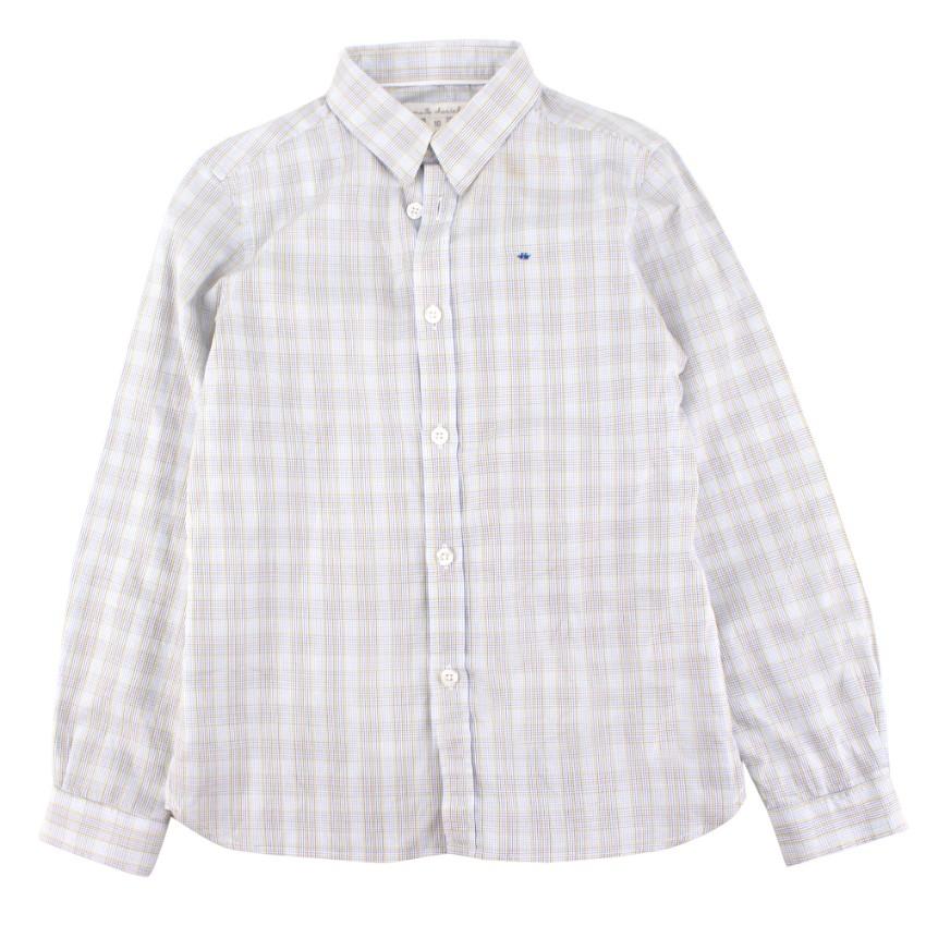 Marie Chantal boys light blue checked shirt