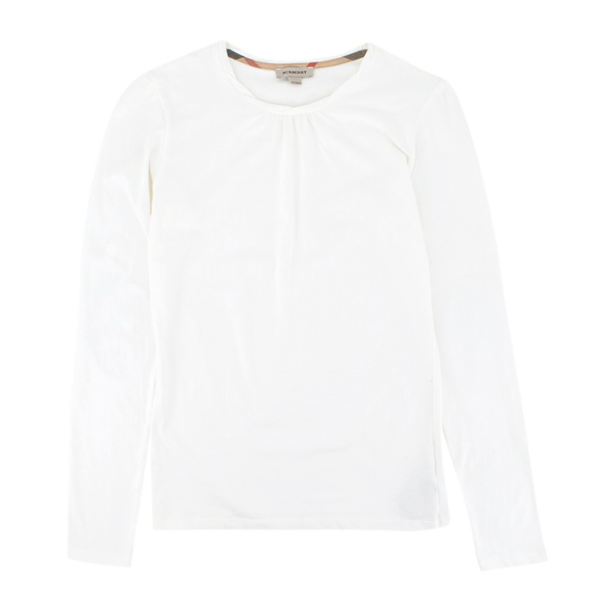 Burberry girl's white long sleeve top