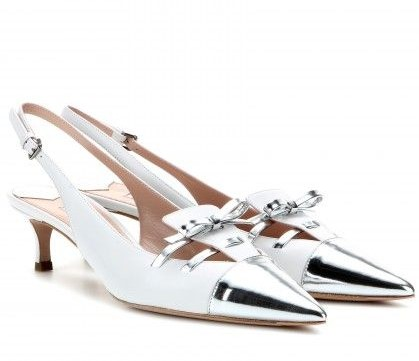 Miu Miu Leather sling-back kitten-heel pumps