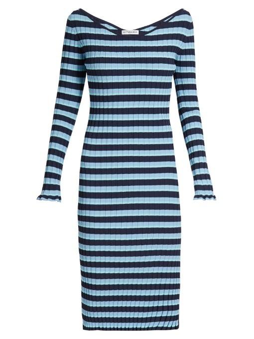 Altuzarra Blue Socorro Off-the-Shoulder Striped Stretch-Knit Dress