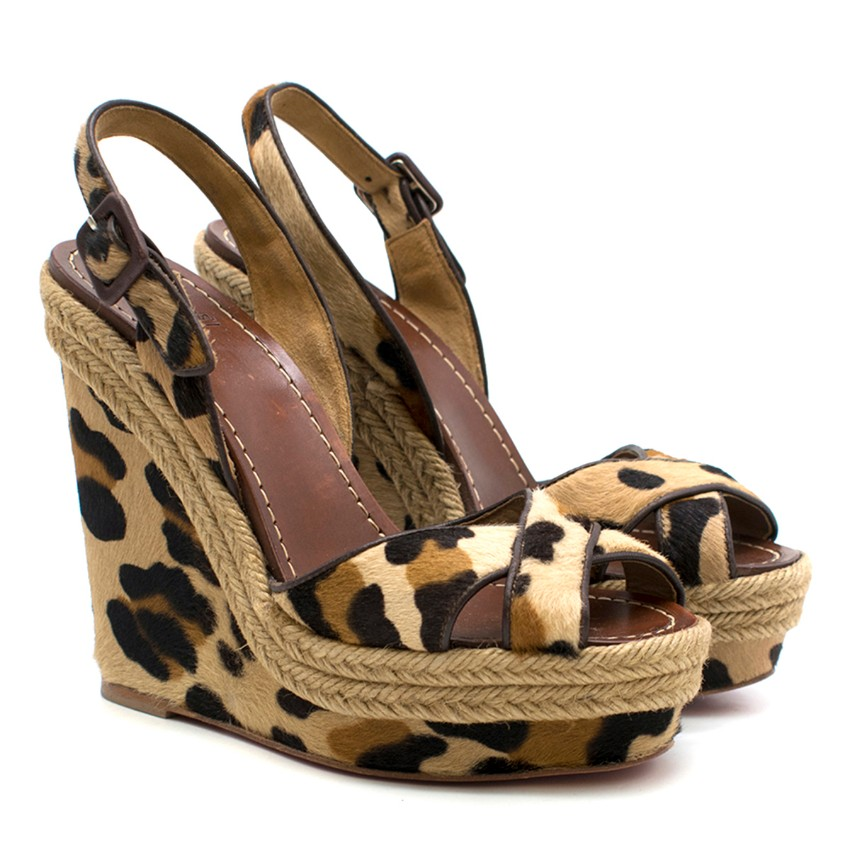 8208f3b4d9c4 Christian Louboutin Leopardprint Calf Hair Wedge Sandals