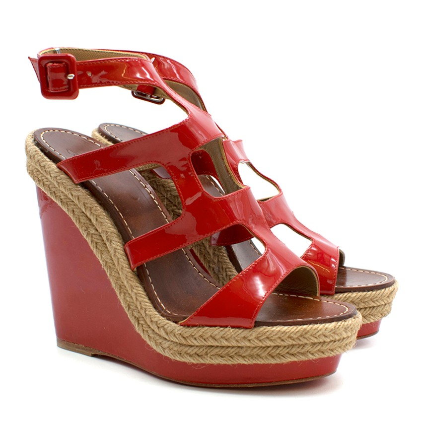 Christian Louboutin red patent leather wedge sandals