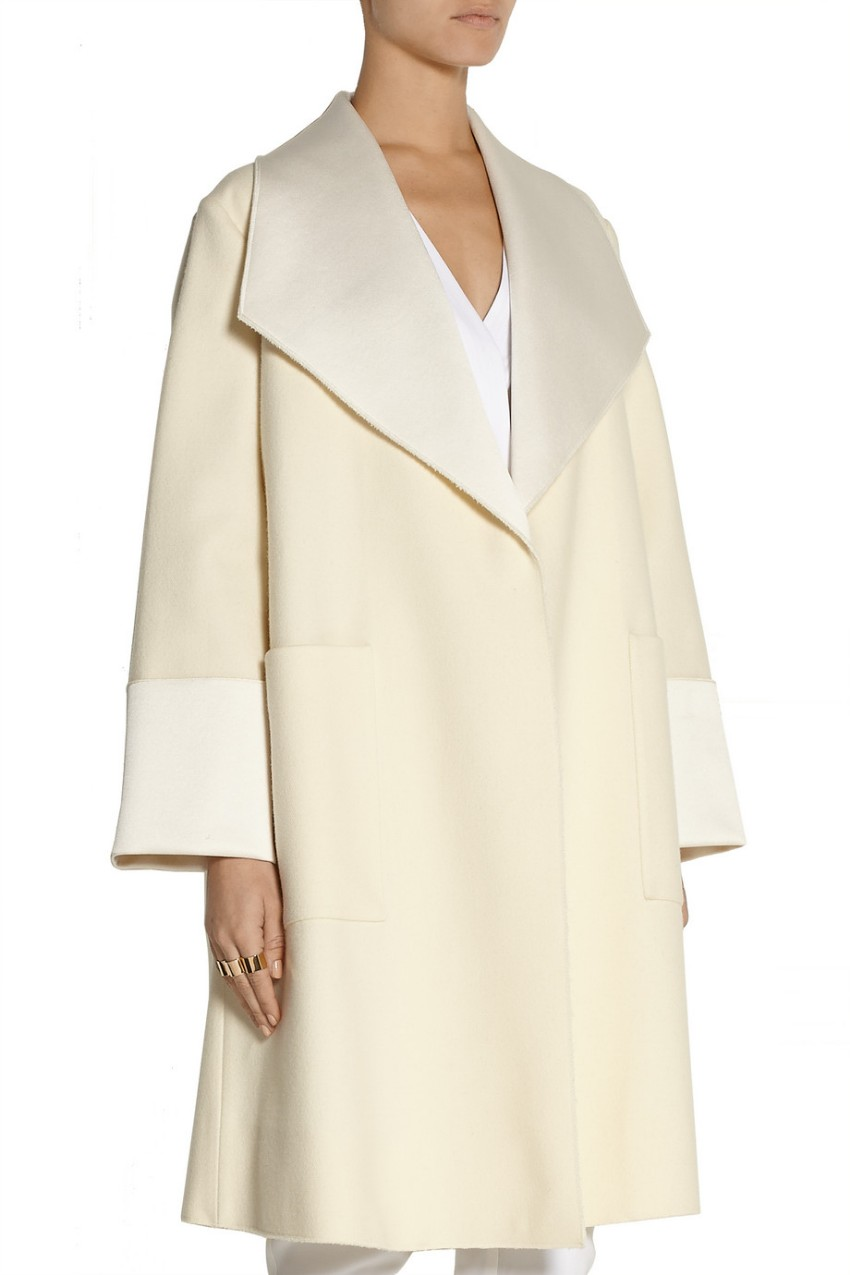 Adam Lippes Satin-Trimmed Wool-Blend Oversized Coat