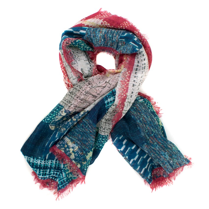 4ee27bc2805 Chanel CC tweed-print dark-blue cashmere scarf