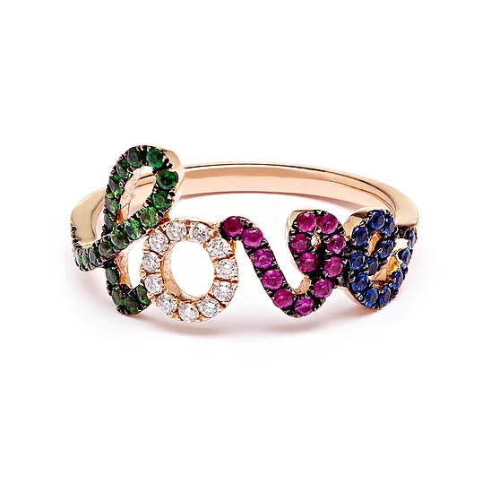 Pia Hallstrom 18k Rose Gold Fine Jewel Rainbow Love Ring
