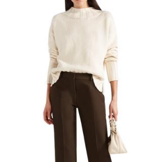 The Row Gracie cream cotton-blend sweater