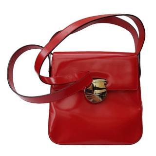 Salvatore Ferragamo Vintage Red Leather Gancini Shoulder Bag