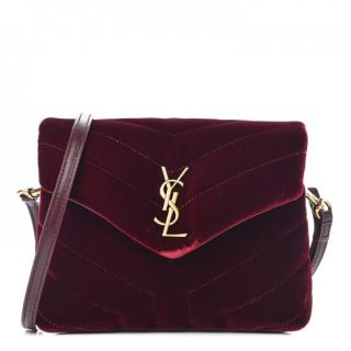Saint Laurent Velvet Matelasse Toy Loulou Monogram Shoulder Bag