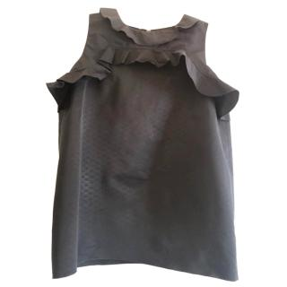 Lanvin black ruffled top