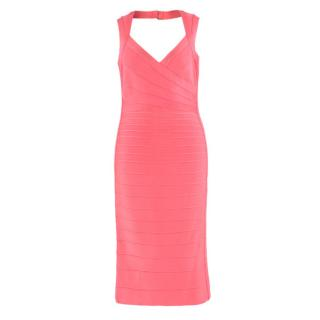 Herve Leger candy pink bandage dress