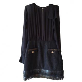 Elisabetta Franchi Sheer & Tweed Dress
