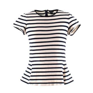 Theory striped short-sleeve cotton top