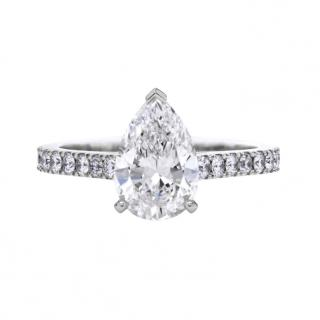 Bespoke Pearcut diamond solitaire ring