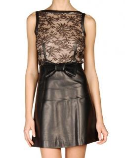 Valentino Bow-Embellished Lace and Leather Dress
