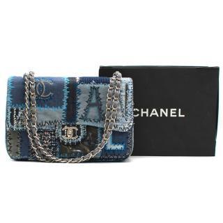 Chanel patchwork-denim jumbo single-flap bag