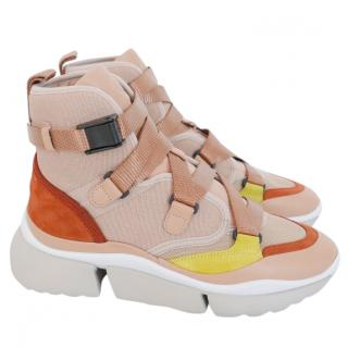 Chloe Sonnie High Top Sneakers Trainers Maple Pink NWB IT36/UK3