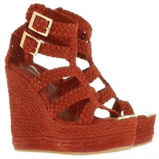 Jimmy Choo Pine Woven Brick Red Suede Wedges Sandals New IT36/UK3