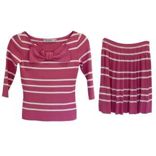 Dior Pink and White Striped Knitted Top and Skirt Set