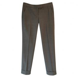 Theory virgin lightweight wool small checked crop trousers
