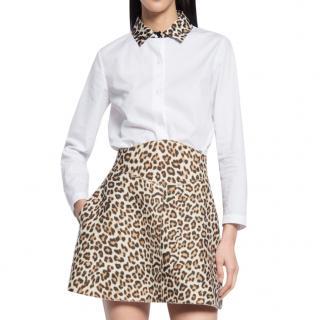 Carven leopard-collar cotton-poplin shirt