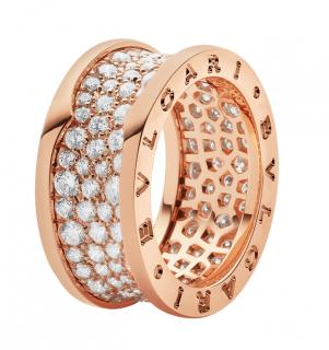 Bvlgari B.Zero1 Diamond Pave Set 18ct Rose Gold Ring