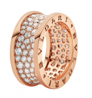 Bvlgari B.Zero1 Diamond Pave Set 18ct Rose Gold Ring